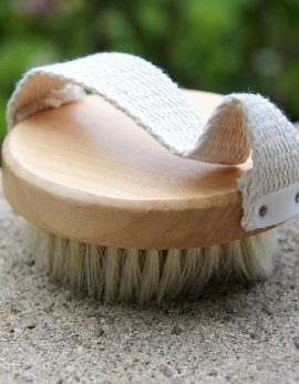 Wooden skin brush with strap