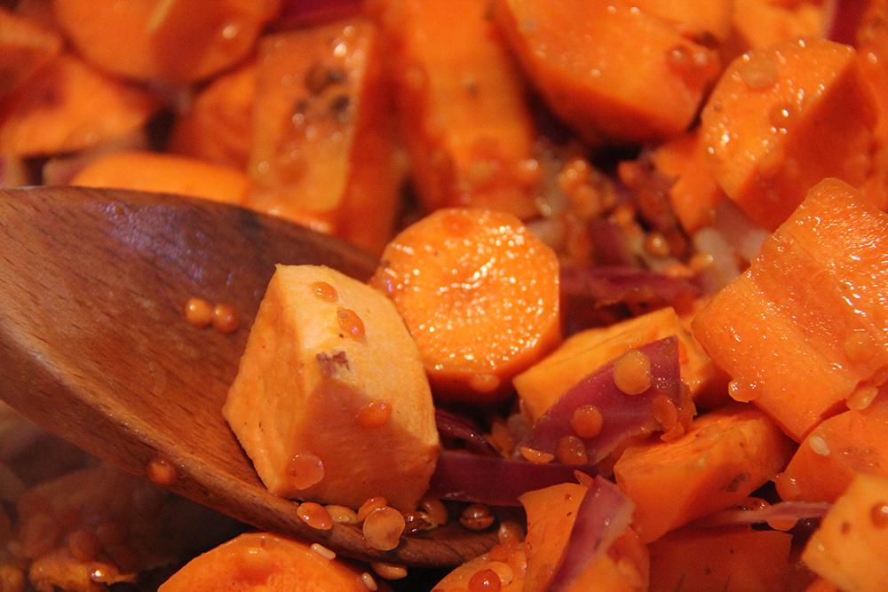 Rough cut carrot soup