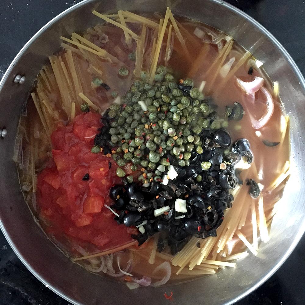 Puttanesca gluten free pasta